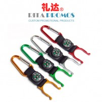 Promotional Mountaineering Carabiner with Lanyard, Compass & Hanging Bottle Buckle (RPMB-3)