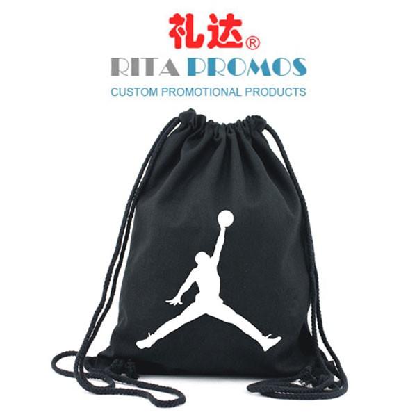 Custom Promotional Black Cotton Canvas Drawstring Bags (RPCDB-1)