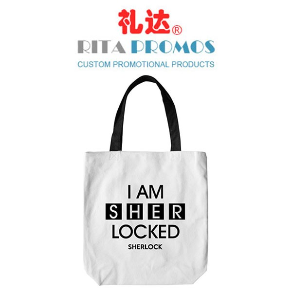 Promotional White Cotton Tote Bags Shopping Grocery Totes(RPCTB-1)
