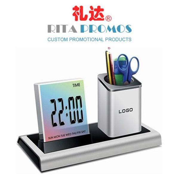 Promotional Office Desk Penholder Digital Clock with 7 LED Colorful Lights (RPCPC-003)