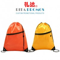 Custom Promotional Nylon Drawtring Bags Sports Backpacks with Zipper (RPNDB-1)