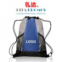 Two-tone Mesh-pockets Polyester Drawstring Backpacks with Custom Logo (RPPDB-4)