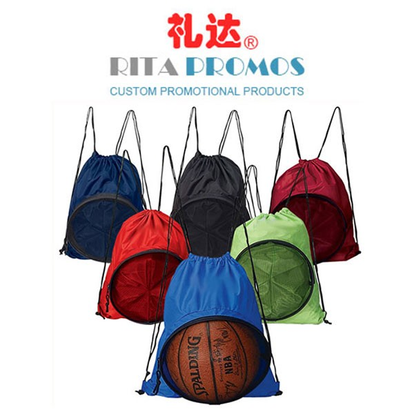 Personalized Basketball Sports Polyester Drawstring Bag with Mesh Pocket 35x45cm (RPPDB-5)