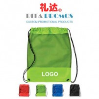 Logo Imprinted Polyester Drawstring Backpacks with Mesh Pocket (RPPDB-6)