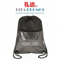 Promotional Black Non-woven Drawstring Bags with Clear PVC Zipper Pocket (RPNWDB-4)